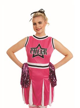 Adult Pink Cheerleader Costume - Back View