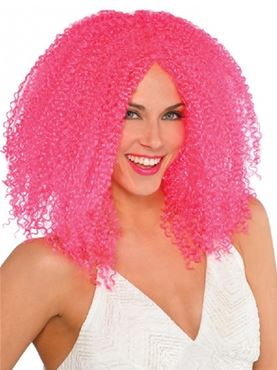Adult Pink Crimped Wig