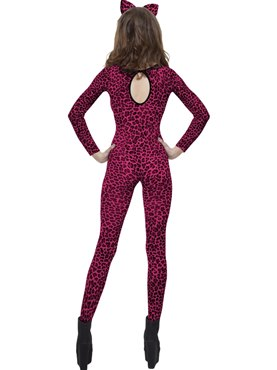 Adult Pink Leopard Print Bodysuit - Side View