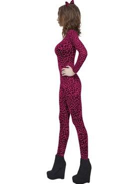 Adult Pink Leopard Print Bodysuit - Back View