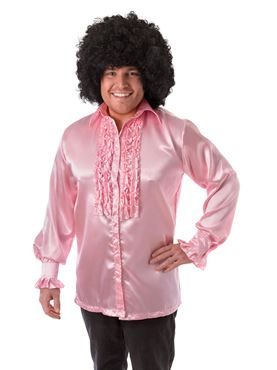 Adult Pink Satin Ruffle Shirt