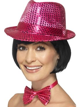 Adult Pink Sequin Trilby Hat