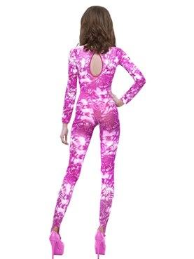 Adult Pink Tie Dye Bodysuit - Side View