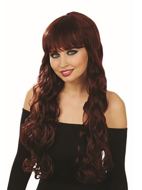Adult Burgundy Brown Wavy Wig