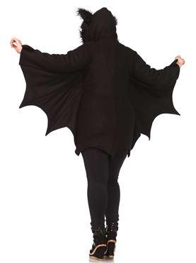 Adult Plus Size Cozy Bat Costume - Back View