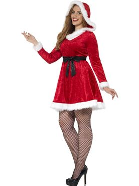 Adult Plus Size Curves Miss Santa Costume - Back View