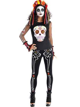 Adult Plus Size Day of the Dead Top Couples Costume