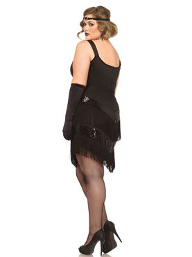 Adult Plus Size Glamour Flapper Costume - Back View