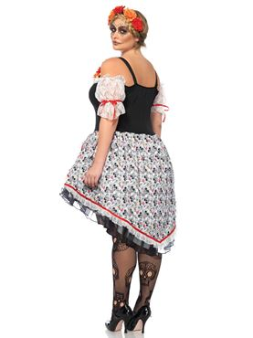 Adult Plus Size Lovely Calavera Costume - Back View
