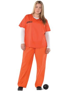Adult Plus Size Orange Inmate Costume