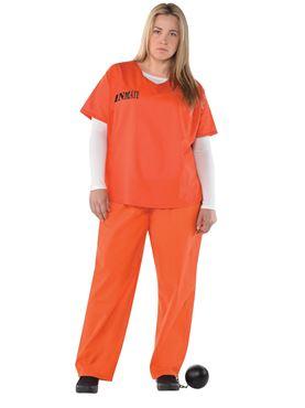 Adult Plus Size Orange Inmate Costume