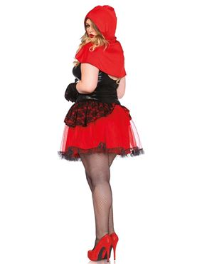Adult Plus Size Shapewear Riding Hood Costume - Back View