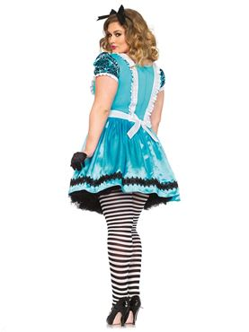 Adult Plus Size Tea Party Alice Costume - Back View