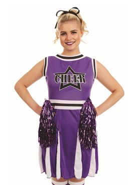 Adult Purple Cheerleader Costume - Back View