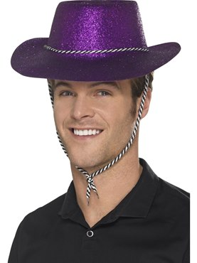 Adult Purple Glitter Cowboy Hat
