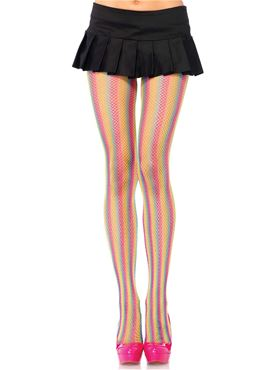 Adult Rainbow Fishnet Tights