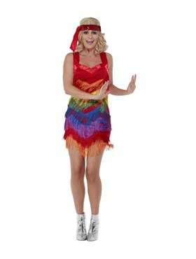 Adult Rainbow Pride 20s Flapper Dress - Back View