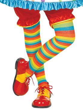 Adult Rainbow Striped Clown Tights