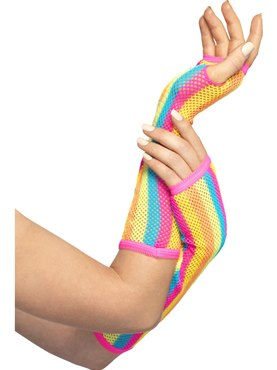 Adult Rainbow Striped Neon Fishnet Gloves