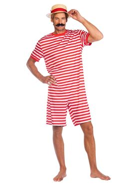 Adult Red 1920s Swimsuit Costume Couples Costume