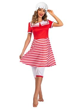 Adult Red 1920s Swimsuit Costume