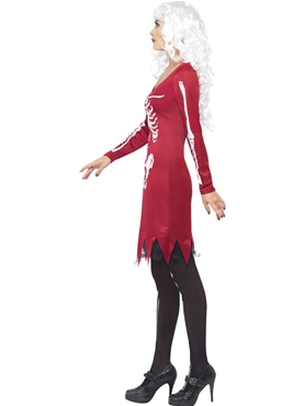 Adult Red Beauty Bones Costume - Back View