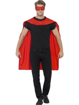 Adult Red Cape & Eye Mask Set