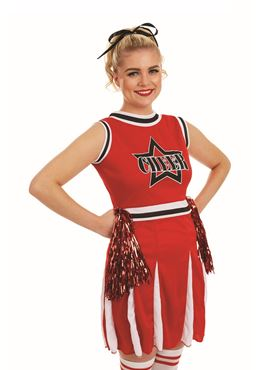 Adult Red Cheerleader Costume - Back View