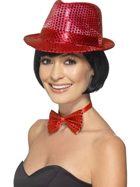Adult Red Sequin Trilby Hat