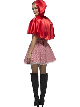 Adult Riding Hood Costume Red White - Side View