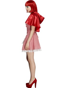 Adult Riding Hood Costume Red White - Back View