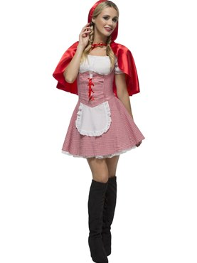 Adult Riding Hood Costume Red White