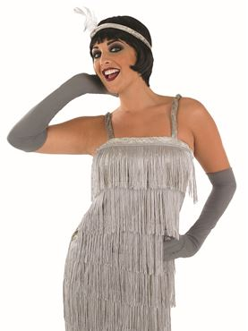 Adult 20s Roaring Silver Flapper Costume - Back View