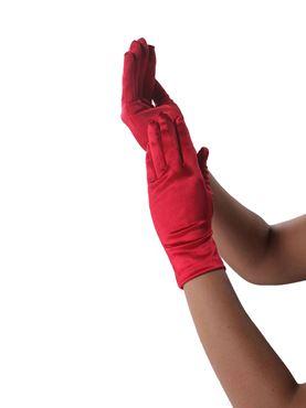 Adult Satin Wrist Gloves - Back View