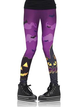 Adult Scaredy Cat Spooky Print Leggings