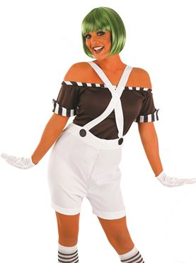 Adult Sexy Oompa Loompa Factory Worker Costume with Wig - Back View