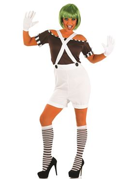 Adult Sexy Oompa Loompa Factory Worker Costume with Wig