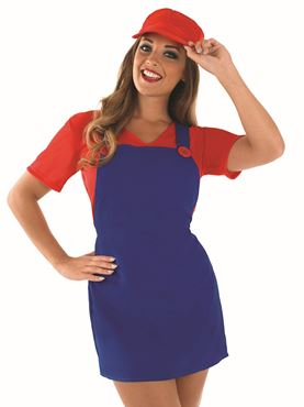 Adult Sexy Red Plumbers Mate Girl Costume - Back View