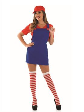 Adult Sexy Red Plumbers Mate Girl Costume