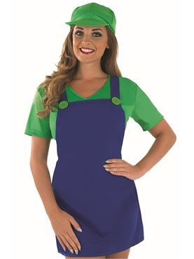 Adult Sexy Green Plumbers Mate Girl Costume - Back View