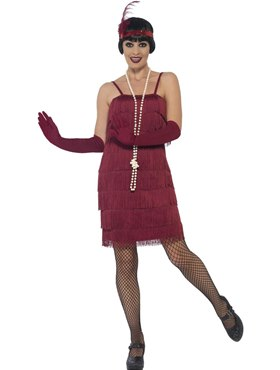 Adult Short Burgundy Flapper Costume