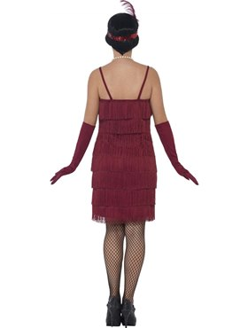 Adult Short Burgundy Flapper Costume - Side View