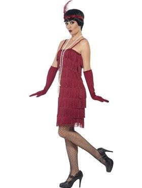Adult Short Burgundy Flapper Costume - Back View