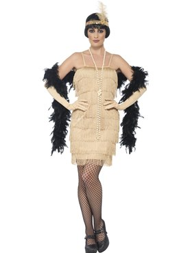 Adult Short Gold Flapper Costume