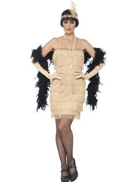 Adult Short Gold Flapper Costume