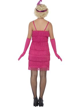Adult Short Pink Flapper Costume - Side View