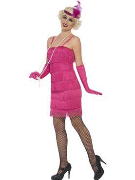 Adult Short Pink Flapper Costume - Back View