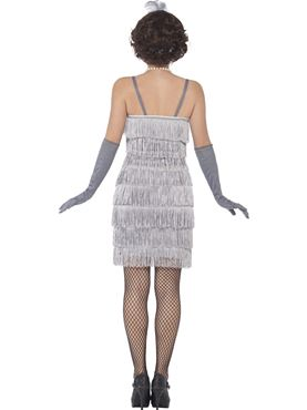 Adult Short Silver Flapper Costume - Side View
