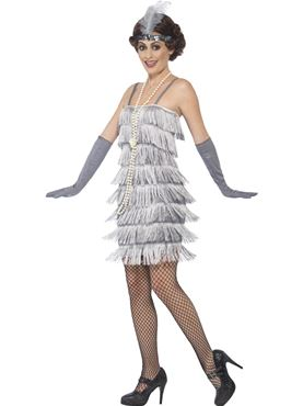Adult Short Silver Flapper Costume - Back View