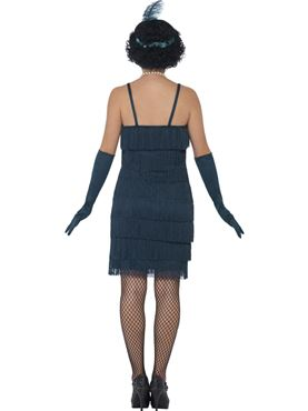Adult Short Teal Flapper Costume - Side View